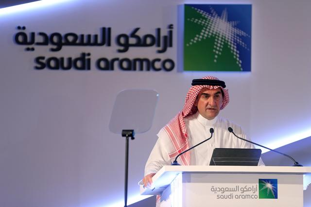 FILE PHOTO: Yasser al-Rumayyan, Saudi Aramco's chairman, speaks during a news conference at the Plaza Conference Center in Dhahran, Saudi Arabia November 3, 2019. REUTERS