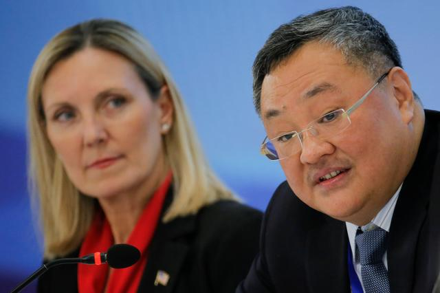 FILE PHOTO: U.S. Under Secretary of State Andrea Thompson (L) and Director General of the Department of Arms Control and Disarmament of the Chinese Foreign Ministry Fu Cong attend a panel discussion after a Treaty on the Non-Proliferation of Nuclear Weapons (NPT) conference in Beijing, China January 31, 2019.   REUTERS/Thomas Peter/Pool/File Photo