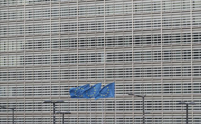 European Union flags flutter outside the EU Commission headquarters ahead of the European Union leaders summit, in Brussels, Belgium October 17, 2019. REUTERS/Yves Herman