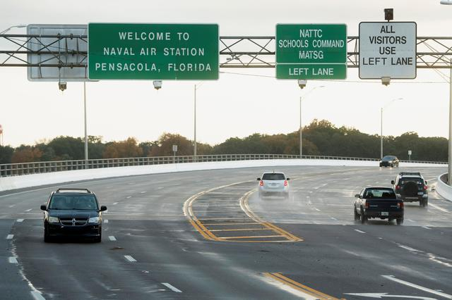 Traffic on and off base is restricted after a member of the Saudi Air Force visiting the United States for military training was the suspect in a shooting at Naval Air Station Pensacola, in Pensacola, Florida, U.S. December 6, 2019.  REUTERS/Michael Spooneybarger