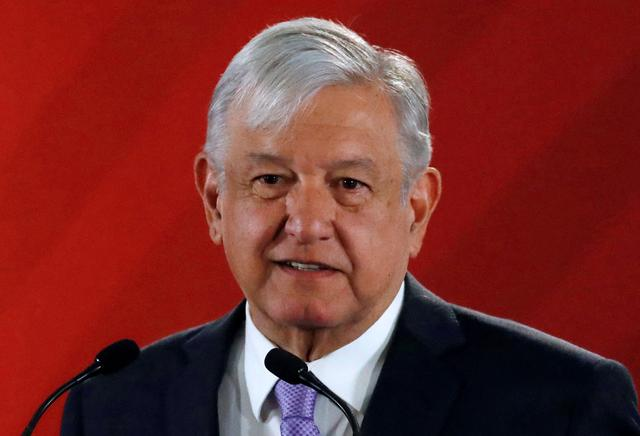 FILE PHOTO: Mexico's President Andres Manuel Lopez Obrador speaks to the media during a news conference at the National Palace in Mexico City, Mexico February 15, 2019. REUTERS/Henry Romero/File Photo