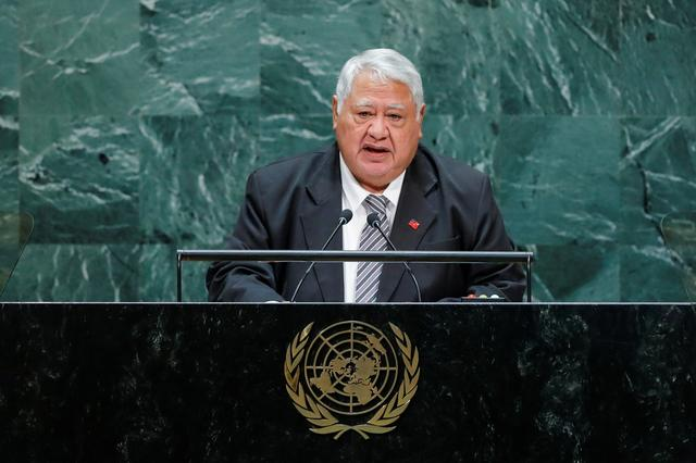 FILE PHOTO: Prime Minister of Samoa Tuilaepa Sailele Malielegaoi addresses the 74th session of the United Nations General Assembly at U.N. headquarters in New York City, New York, U.S., September 27, 2019. REUTERS/Eduardo Munoz