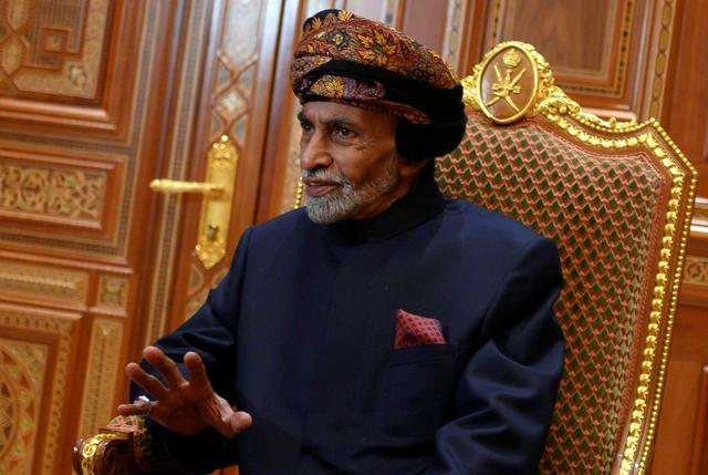 FILE PHOTO: Sultan of Oman Qaboos bin Said al-Said sits during a meeting with U.S. Secretary of State Mike Pompeo (not pictured) at the Beit Al Baraka Royal Palace in Muscat, Oman January 14, 2019. Andrew Caballero-Reynolds/Pool via Reuters/File Photo