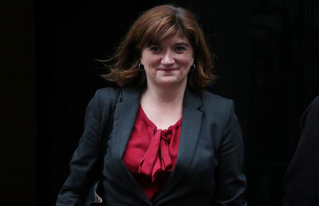 FILE PHOTO: Britain's Digital, Culture, Media and Sport Secretary Nicky Morgan is seen outside Downing Street in London, Britain October 24, 2019. REUTERS/Hannah McKay/File Photo