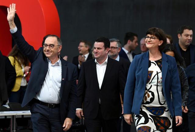 New SPD leaders Norbert Walter-Borjans and Saskia Esken attend a congress of the Social Democratic Party (SPD) in Berlin, Germany, December 7, 2019. REUTERS/Annegret Hilse