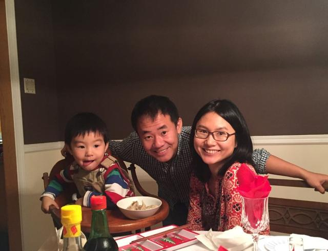 FILE PHOTO: Xiyue Wang, a naturalized American citizen from China, arrested in Iran last August while researching Persian history for his doctoral thesis at Princeton University, is shown with his wife and son in this family photo released in Princeton, New Jersey, U.S. on July 18, 2017.    Courtesy Wang Family photo via Princeton University/Handout via REUTERS/File Photo