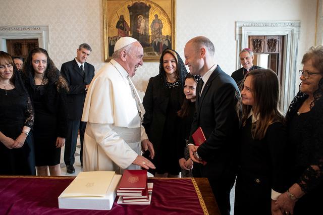 Pope Francis meets Maltese Prime Minister Joseph Muscat at the Vatican December 7, 2019. Vatican Media/Handout via REUTERS