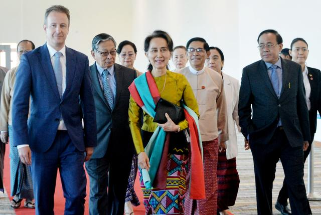 Myanmar's State Counsellor Aung San Suu Kyi departs from Naypyidaw International Airport ahead of her appearance at the International Court of Justice to defend the country against charges of genocide of its Rohingya Muslim minority, in Naypyidaw, Myanmar, December 8, 2019. Myanmar's State Counsellor Office/Handout via REUTERS