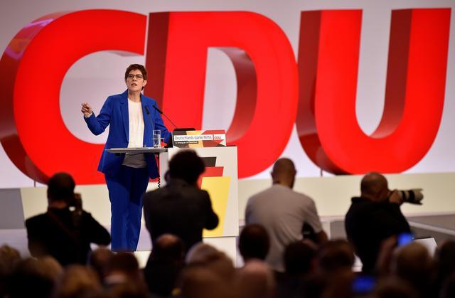 FILE PHOTO: CDU party chairwoman Annegret Kramp-Karrenbauer speaks at the Christian Democratic Union (CDU) party congress in Leipzig, Germany, November 22, 2019. REUTERS/Matthias Rietschel/File Photo