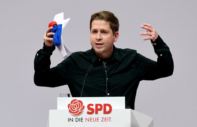 FILE PHOTO: Kevin Kuehnert, leader of the Social Democratic Party's youth wing Jusos, speaks during a party congress of the Social Democratic Party (SPD) in Berlin, Germany, December 6, 2019.  REUTERS/Annegret Hilse/File Photo