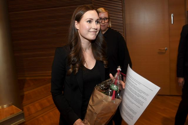 The candidate for the next prime minister of Finland, Sanna Marin, after the SDP's prime minister candidate vote in Helsinki, Finland, December 8, 2019. Vesa Moilanen/Lehtikuva/via REUTERS