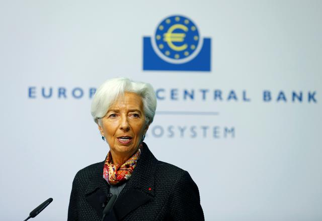 FILE PHOTO: European Central Bank (ECB) President Christine Lagarde speaks before she gives a sign which will be implemented on the newly printed euro banknotes at the bank's headquarters in Frankfurt, Germany November 27, 2019. REUTERS/Ralph Orlowski