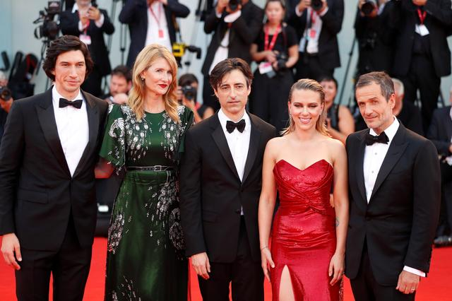 "FILE PHOTO: The 76th Venice Film Festival - Screening of the film ""Marriage Story"" in competition - Red carpet arrivals - Venice, Italy, August 29, 2019 - Actors Adam Driver, Laura Dern and Scarlett Johansson, director Noah Baumbach and producer David Heyman pose. REUTERS/Yara Nardi"