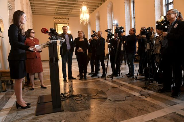 Social democrats minister Sanna Marin speaks to the media after she was elected as the new Prime Minister of Finland in the session of the Finnish Parliament in Helsinki, Finland, December 10, 2019. Lehtikuva/Heikki Saukkomaa via REUTERS