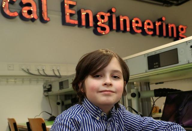 FILE PHOTO: Nine-year-old Belgian student Laurent Simons, who studies electrical engineering and was on track to become the youngest university graduate in the world, poses at the University of Technology in Eindhoven, Netherlands November 20, 2019.  REUTERS/Yves Herman/File Photo