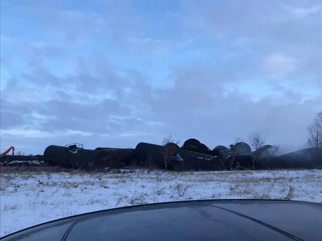 The wreckage of a derailed Canadian Pacific Railway train hauling crude oil is seen near Guernsey, Saskatchewan, Canada, December 9, 2019 in this picture obtained from social media. MELANIE LOESSI via REUTERS