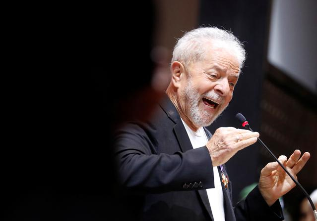 FILE PHOTO: Former Brazilian President Luiz Inacio Lula da Silva speaks during the opening ceremony of the Workers Party (PT) Congress in Sao Paulo, Brazil November 22, 2019. REUTERS/Nacho Doce