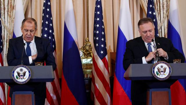 Russia's Foreign Minister Sergey Lavrov and U.S. Secretary of State Mike Pompeo hold a joint news conference at the State Department in Washington, U.S., December 10, 2019. REUTERS/Jonathan Ernst