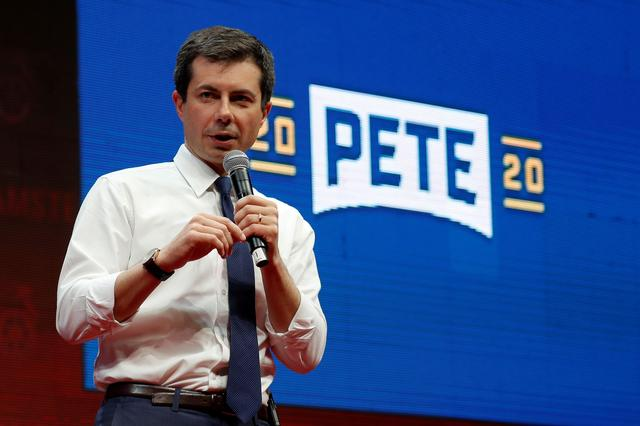 FILE PHOTO: Democratic presidential candidate Pete Buttigieg speaks during the Teamsters Vote 2020 Presidential Forum in Cedar Rapids, Iowa, U.S., December 7, 2019. REUTERS/Shannon Stapleton/File Photo