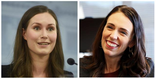 A combination picture shows New Zealand's Prime Minister Jacinda Ardern (R) during an interview with Reuters in Wellington, New Zealand, December 11, 2019 and Finland's Prime Minister Sanna Marin (L) at a news conference in Helsinki, Finland December 10, 2019. REUTERS/Yiming Woo and Vesa Moilanen/Lehtikuva/via REUTERS