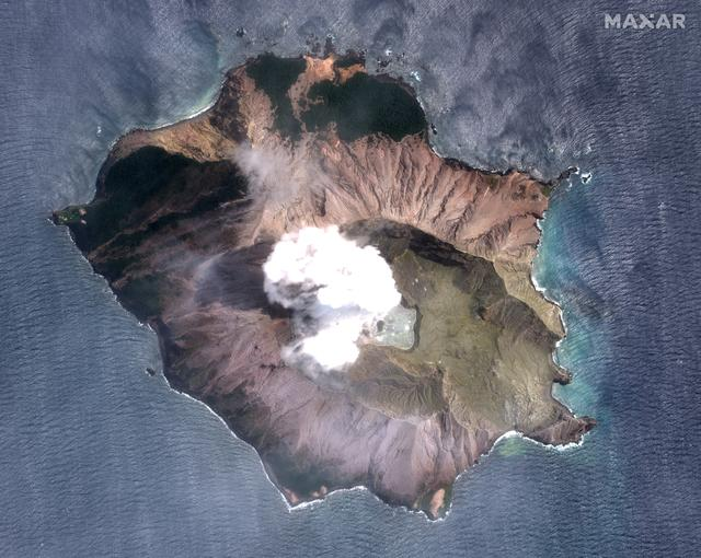 A satellite imagery of the White Island volcano, also known as Whakaari, taken on December 11, 2019 following its eruption in New Zealand. Satellite image ©2019 Maxar Technologies/via REUTERS
