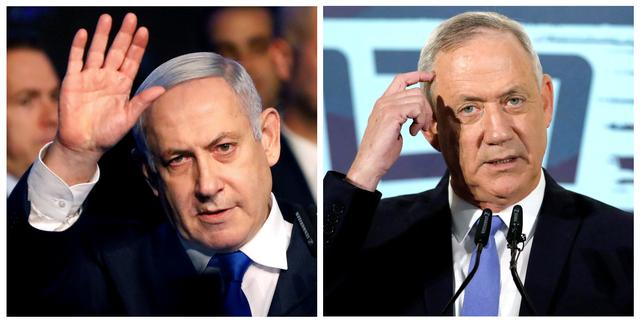 FILE PHOTO: A combination picture shows Israeli Prime Minister Benjamin Netanyahu in Tel Aviv, Israel November 17, 2019, and the leader of Blue and White party, Benny Gantz, in Tel Aviv, Israel November 20, 2019. REUTERS/Nir Elias, Amir Cohen/File Photo