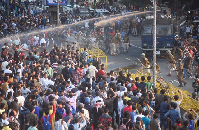 Police use water cannon to disperse demonstrators during a protest against Citizenship Amendment Bill (CAB), that seeks to give citizenship to religious minorities persecuted in neighbouring Muslim countries, in Guwahati, India, December 11, 2019. REUTERS/Anuwar Hazarika