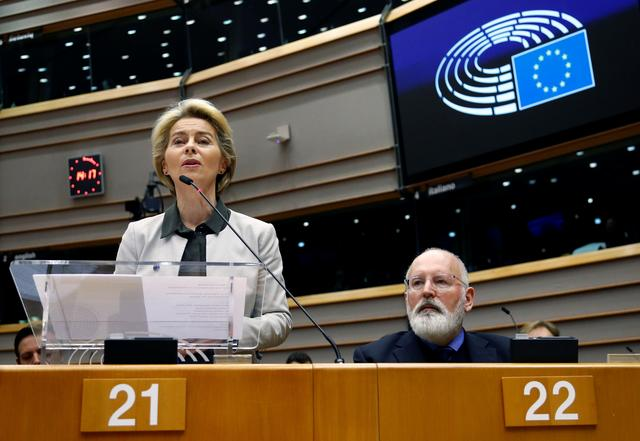 European Commission President Ursula von der Leyen speaks during an extraordinary session to present a Green Deal plan, at the European Parliament in Brussels, Belgium December 11, 2019. REUTERS/Francois Lenoir