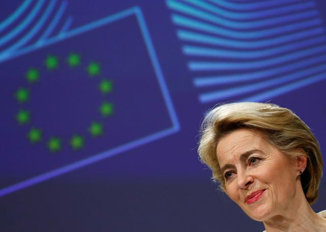 FILE PHOTO: European Commission President Ursula von der Leyen speaks during the media briefing after the first meeting of her new college of commissioners in Brussels, Belgium, December 4, 2019. REUTERS/Francois Lenoir