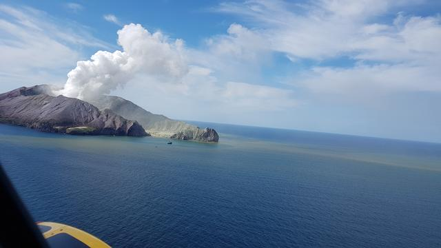 A view of White Island, New Zealand from a helicopter, after a volcanic eruption December 9, 2019, in this picture obtained from social media. AUCKLAND RESCUE HELICOPTER TRUST /via REUTERS
