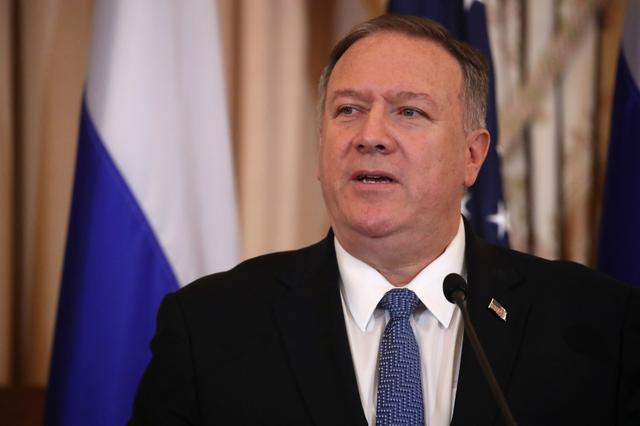 FILE PHOTO: U.S. Secretary of State Mike Pompeo addresses a joint news conference with Russia's Foreign Minister Sergey Lavrov at the State Department in Washington, U.S., December 10, 2019. REUTERS/Jonathan Ernst