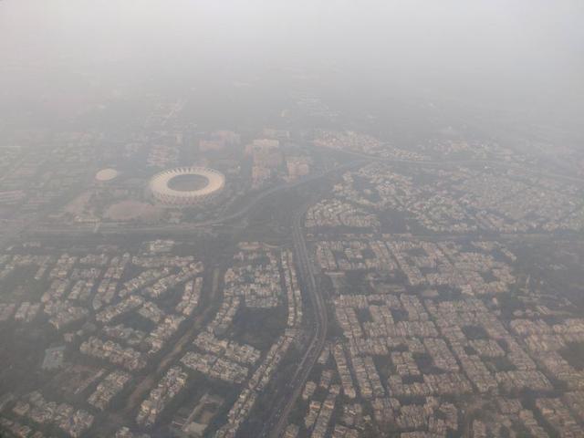 FILE PHOTO: An aerial view of the Delhi skyline shrouded in smog, in New Delhi, India, December 8, 2019. REUTERS/Anushree Fadnavis