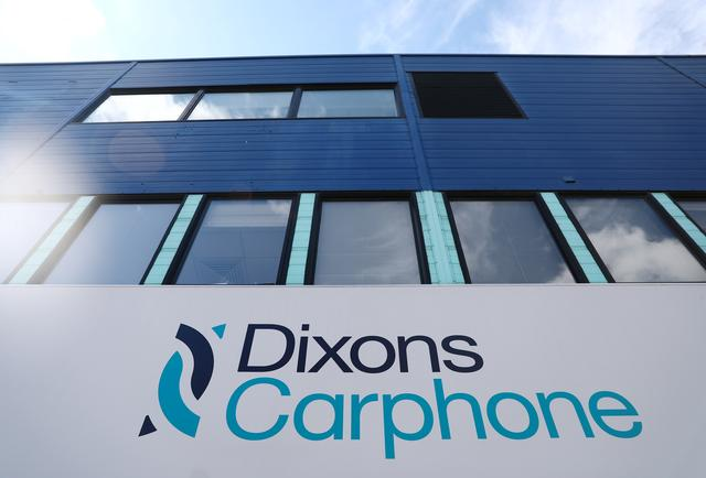 FILE PHOTO: A sign displays the logo of Dixons Carphone at the company headquarters in London, Britain August 1, 2017. REUTERS/Neil Hall