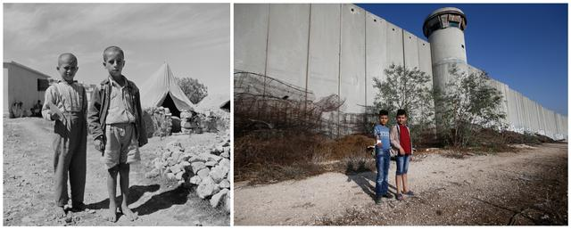 FILE PHOTO: A combination picture shows Palestinian boys posing for a photo in Aida refugee camp in Bethlehem in the Israeli-occupied West Bank, in this undated handout photo. UNRWA/Handout via REUTERS (L) and Palestinian boys posing for a photo in front of a section of the Israeli barrier in Aida refugee camp in Bethlehem in the Israeli-occupied West Bank, October 19, 2019. REUTERS/Mussa Qawasma