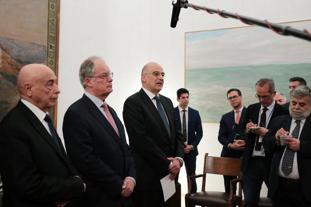 Libya's parliament speaker Aguila Saleh, Greek parliament speaker Konstantinos Tasoulas and Greek Foreign Minister Nikos Dendias make a joint statement following their meeting, at the parliament in Athens, Greece December 12, 2019. REUTERS/Costas Baltas