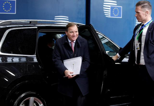 FILE PHOTO: Sweden's Prime Minister Stefan Lofven arrives for the second day of the European Union leaders summit dominated by Brexit, in Brussels, Belgium October 18, 2019. Olivier Matthys/Pool via REUTERS