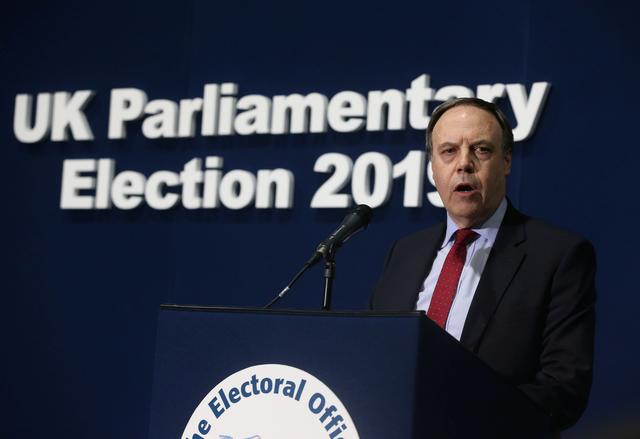 Nigel Dodds of the DUP, the losing candidate in the Belfast North seat, speaks at the count centre after the result was announced, Titanic Quarter, Belfast, Northern Ireland December 13, 2019. REUTERS/Lorraine O'Sullivan