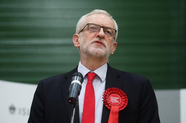 Britain's opposition Labour Party leaderJeremy Corbyn speaks after the General Election results of the Islington North constituency were announced at a counting centre in Islington during Britain's general election, London, Britain December 13, 2019.  REUTERS/Hannah McKay