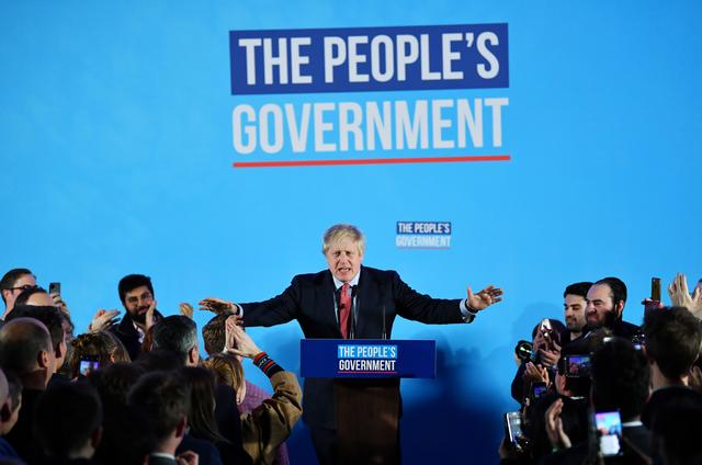 Britain's Prime Minister Boris Johnson speaks during a Conservative Party event following the results of the general election in London, Britain, December 13, 2019. REUTERS/Dylan Martinez