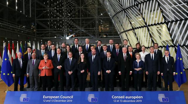 EU leaders pose for a family photo at the European Union leaders summit in Brussels, Belgium December 12, 2019. REUTERS/Yves Herman