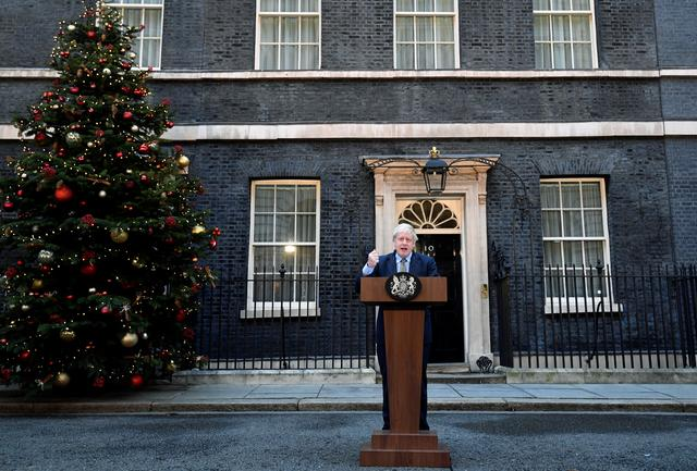 Britain's Prime Minister Boris Johnson delivers a statement at Downing Street after winning the general election, in London, Britain, December 13, 2019. REUTERS/Toby Melville