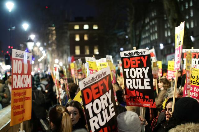 Protesters demonstrate at Downing Street following the result of the general election in London, Britain, December 13, 2019. REUTERS/Lisi Niesner
