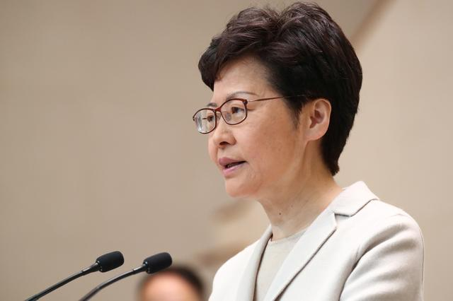 FILE PHOTO: Hong Kong chief executive Carrie Lam speaks to the media in a weekly news briefing after local elections in Hong Kong, China, November 26, 2019. REUTERS/Marko Djurica