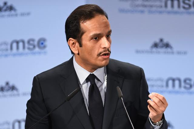 FILE PHOTO: Qatar's Foreign Minister Sheikh Mohammed bin Abdulrahman Al-Thani speaks during the annual Munich Security Conference in Munich, Germany February 17, 2019. REUTERS/Andreas Gebert