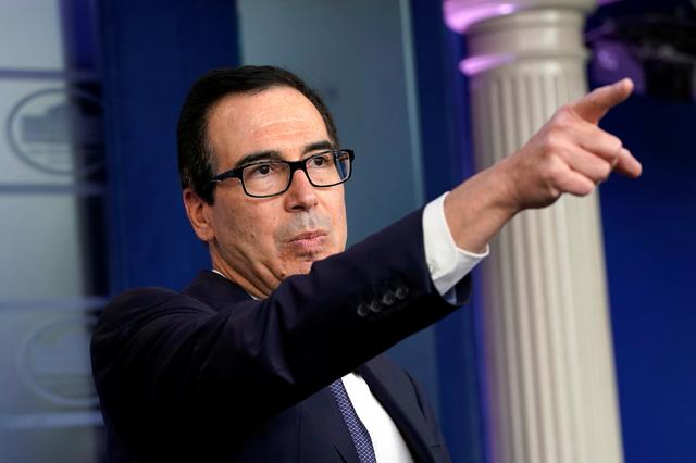 FILE PHOTO: U.S. Treasury Secretary Steve Mnuchin speaks about sanctions against Turkey at a news briefing at the White House in Washington, U.S., October 11, 2019. REUTERS/Yuri Gripas/File Photo