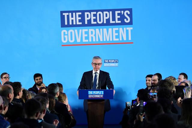 FILE PHOTO: Britain's Chancellor of the Duchy of Lancaster Michael Gove speaks during Conservative Party event following the results of the general election in London, Britain, December 13, 2019. REUTERS/Dylan Martinez
