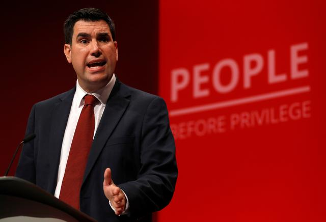 FILE PHOTO: Labour Party MP and Shadow Secretary of State for Justice Richard Burgon, speaks during the Labour Party annual conference in Brighton, Britain, September 22, 2019.  REUTERS/Peter Nicholls
