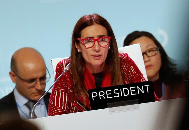 Carolina Schmidt, COP25 President and Chile's Minister of Environment, speaks at the U.N. Climate Change Conference (COP25) in Madrid, Spain, December 15, 2019. REUTERS/Nacho Doce