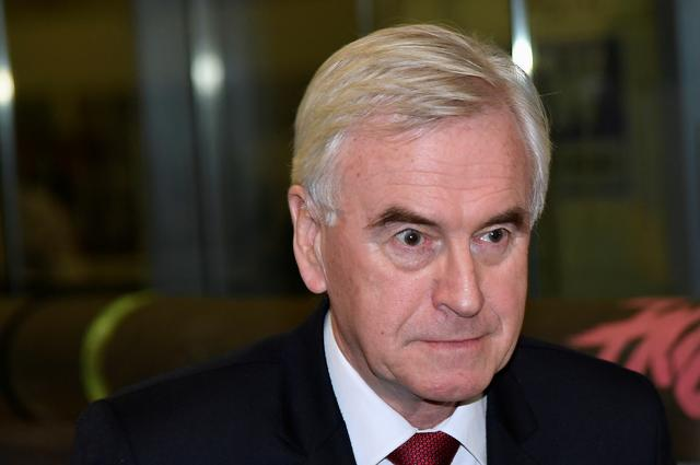 FILE PHOTO: John McDonnell, Labour MP for Hayes and Harlington, reacts after retaining his parliamentary seat in the general election, in Uxbridge, Britain, December 13, 2019. REUTERS/Toby Melville/File Photo