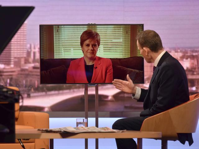 Scotland's First Minister Nicola Sturgeon appears via TV link on the BBC's The Andrew Marr Show in London, Britain December 15, 2019. Jeff Overs/BBC/Handout via REUTERS